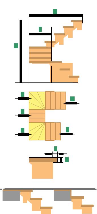 Деревянная лестница на 180° на 3 пролета с забежными ступенями