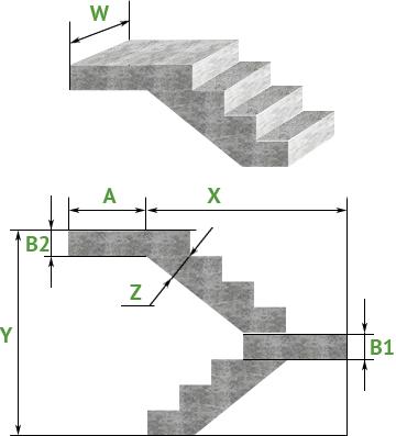Бетонная лестница с поворотом на 180