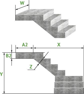 Лестница из бетона с поворотом на 90